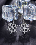 Snowflake Collection in silver white rhodium plated earrings with white CZs (Classic Snowflake)