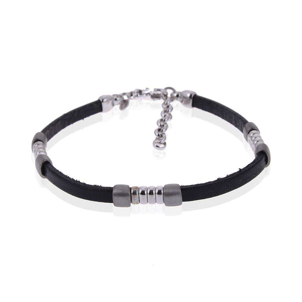 Black Leather Insert Silver Bracelet