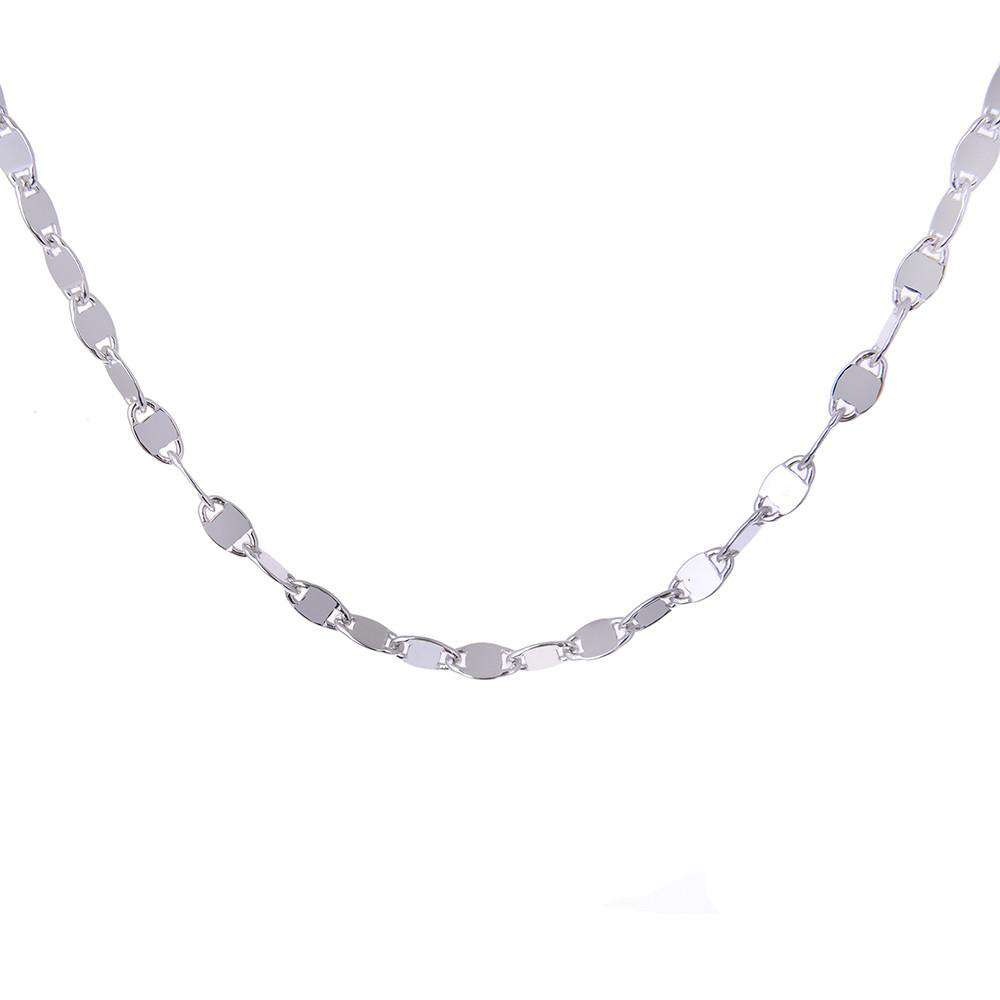 Sterling Silver Rolò Chain with Polished Square Insert Necklace