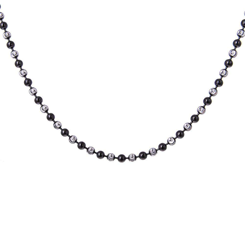 Sterling Silver Diamond Balls Chain Necklace