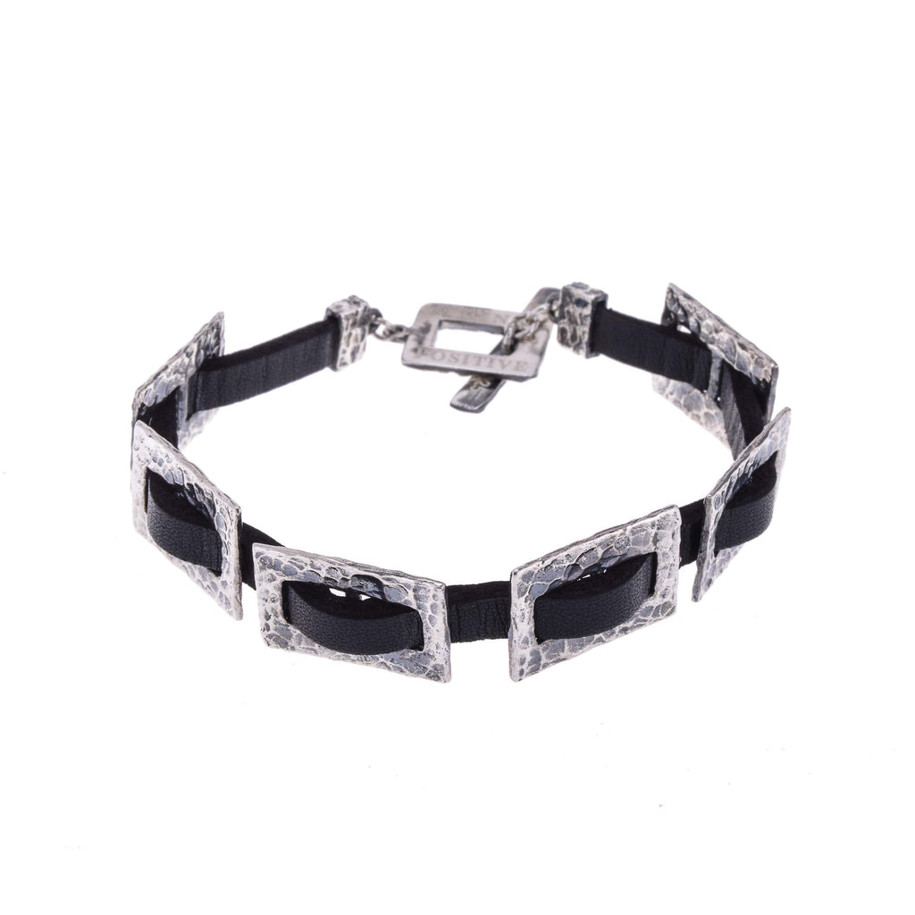 Hammered Silver Chain and Black Leather Men Bracelet