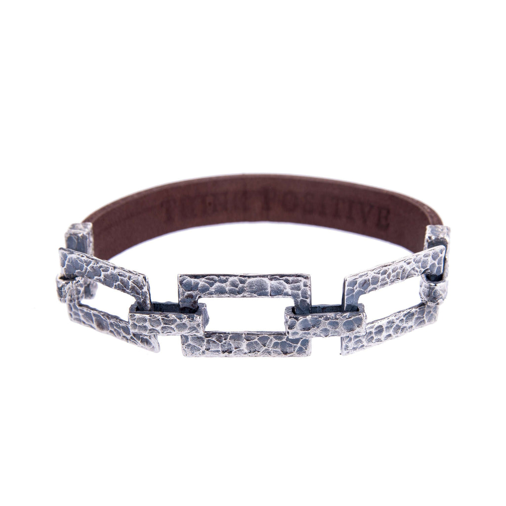 Hammered Silver Chain and Brown Leather Men Bracelet