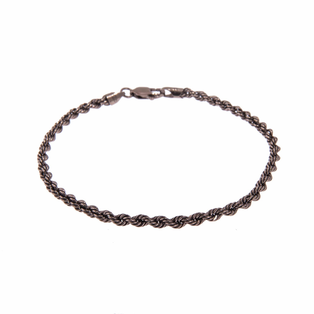 Men's Sterling Silver Chocolate Colour Chain Bracelet