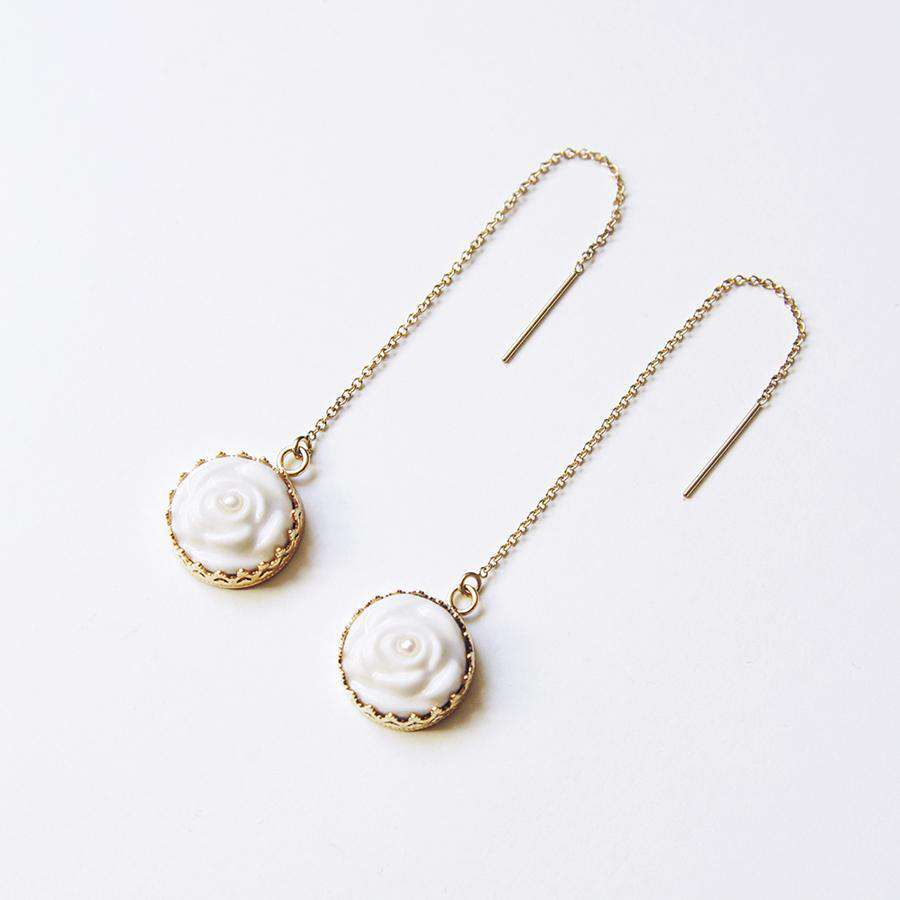 Rose With Pearl Gold-Filled Chain Earrings