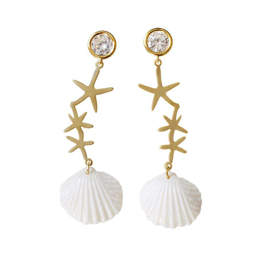 Crystal Star Seashell Earrings
