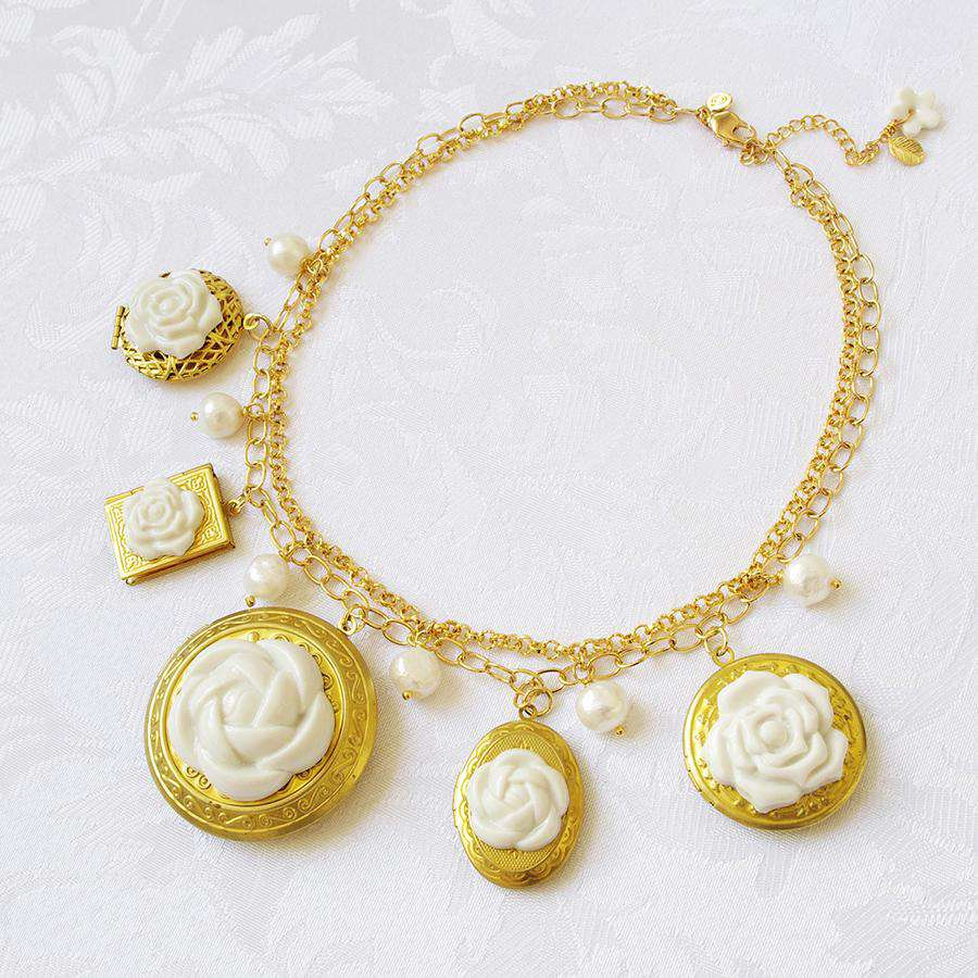 Floral Lockets Statement Necklace