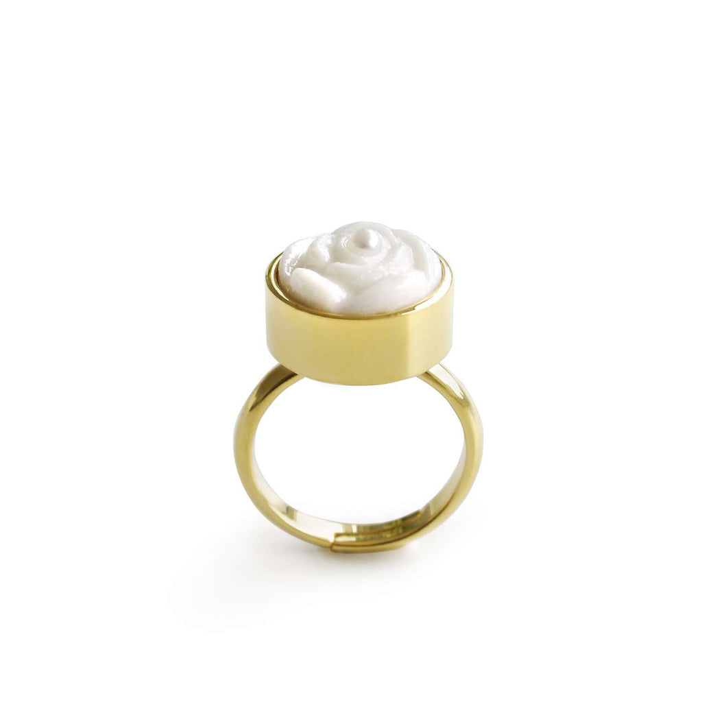 Porcelain Rose With Pearl Adjustable Ring