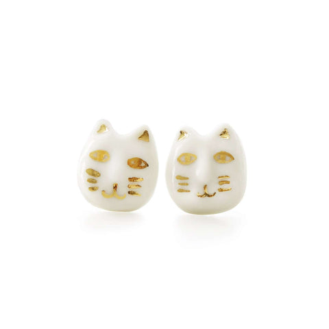 Merry Go Round Porcelain Cat Drop Earrings
