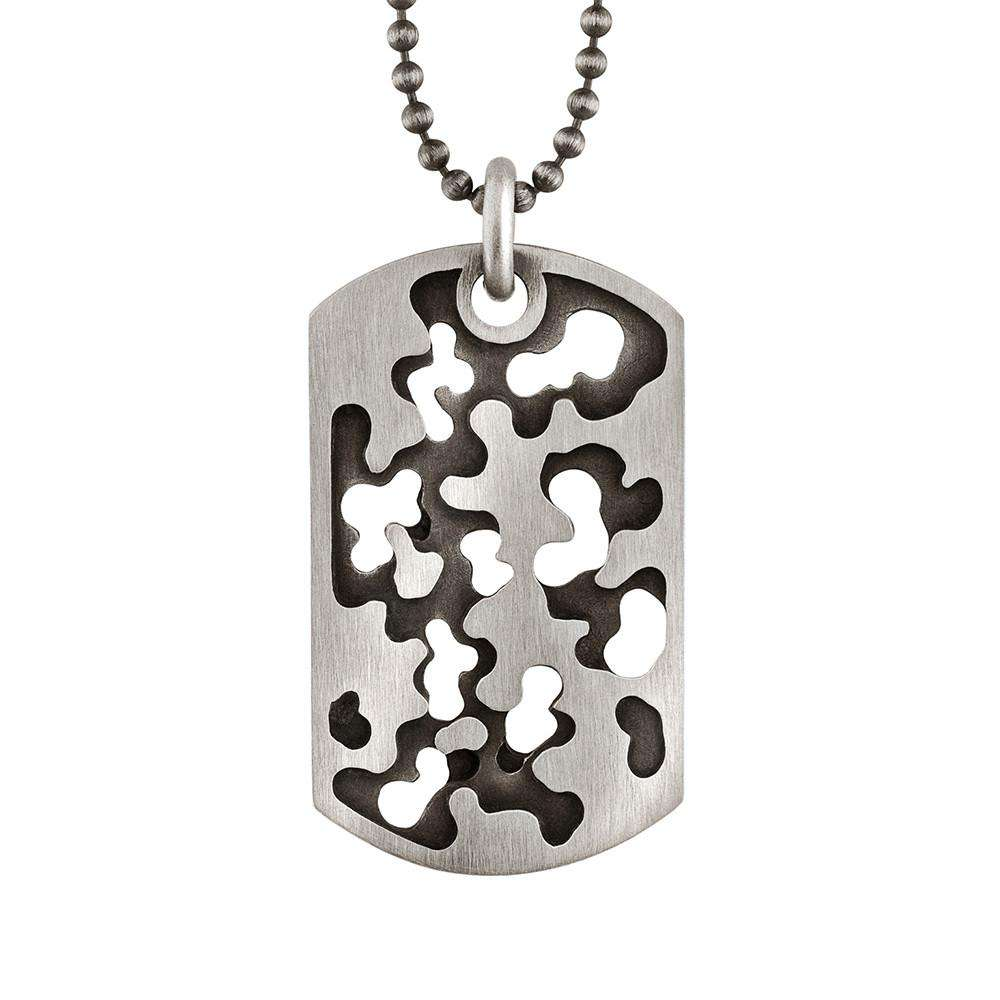 Perforated Camouflage Dog Tag Necklace in Sterling Silver