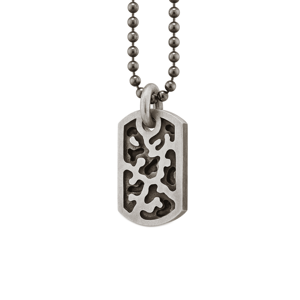 Small Camouflage Dog Tag Necklace in Sterling Silver
