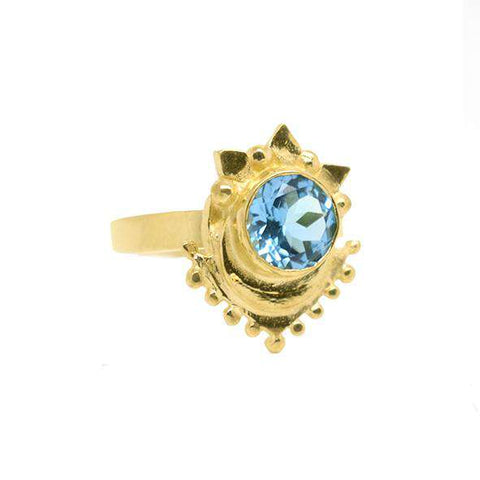 Blue Topaz Veneto Hamsa Crossover Ring