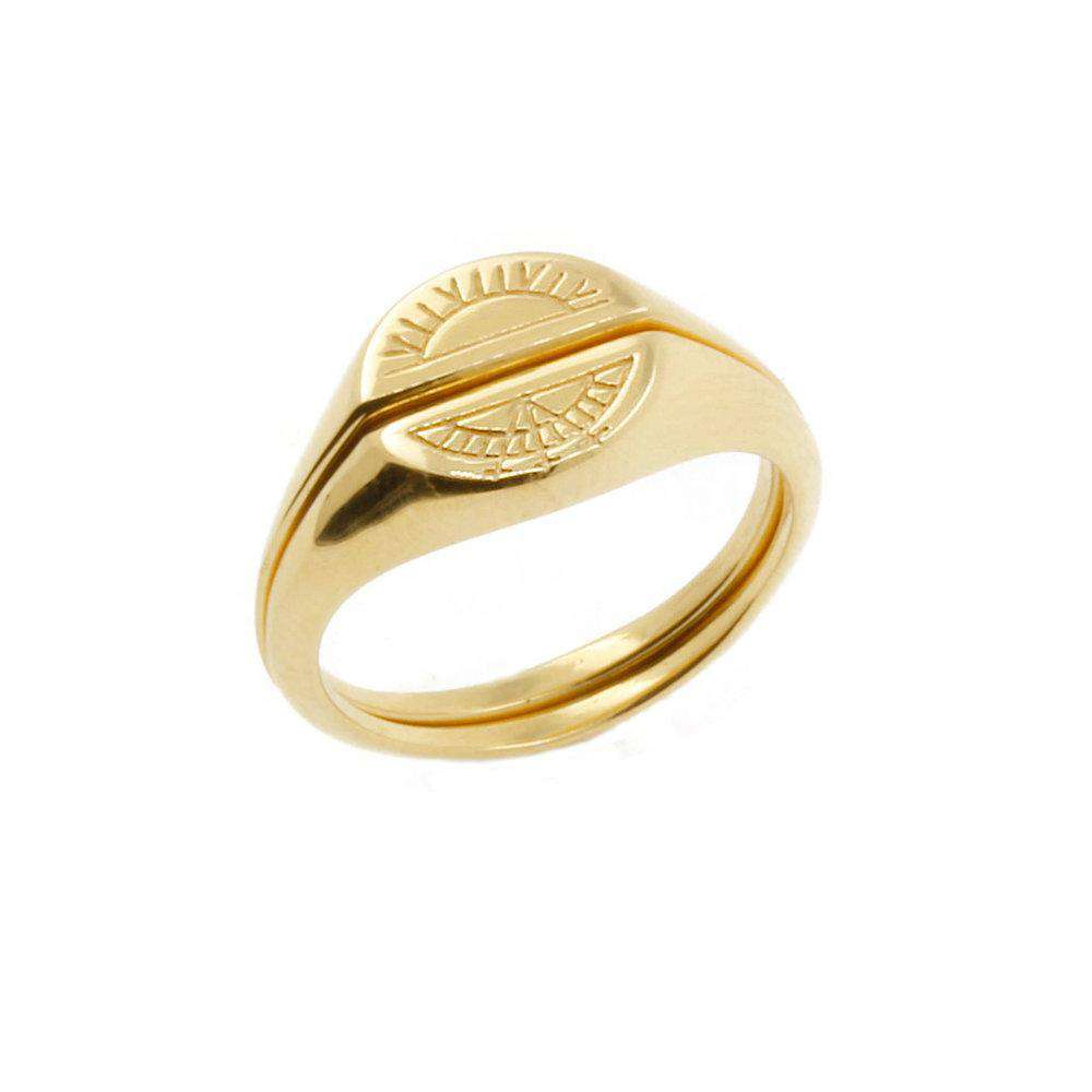 Sun Signet Ring - solid Gold