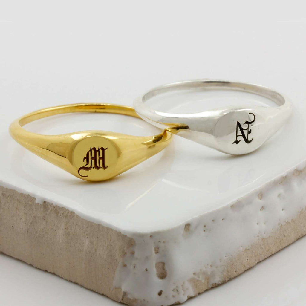 Mini Initial Signet Ring - solid gold