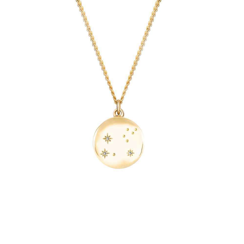 Zodiac Constellation Necklace - Solid 9ct Yellow Gold & Diamonds