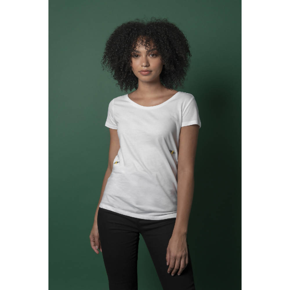 Bee Embroidered T-Shirt White Women