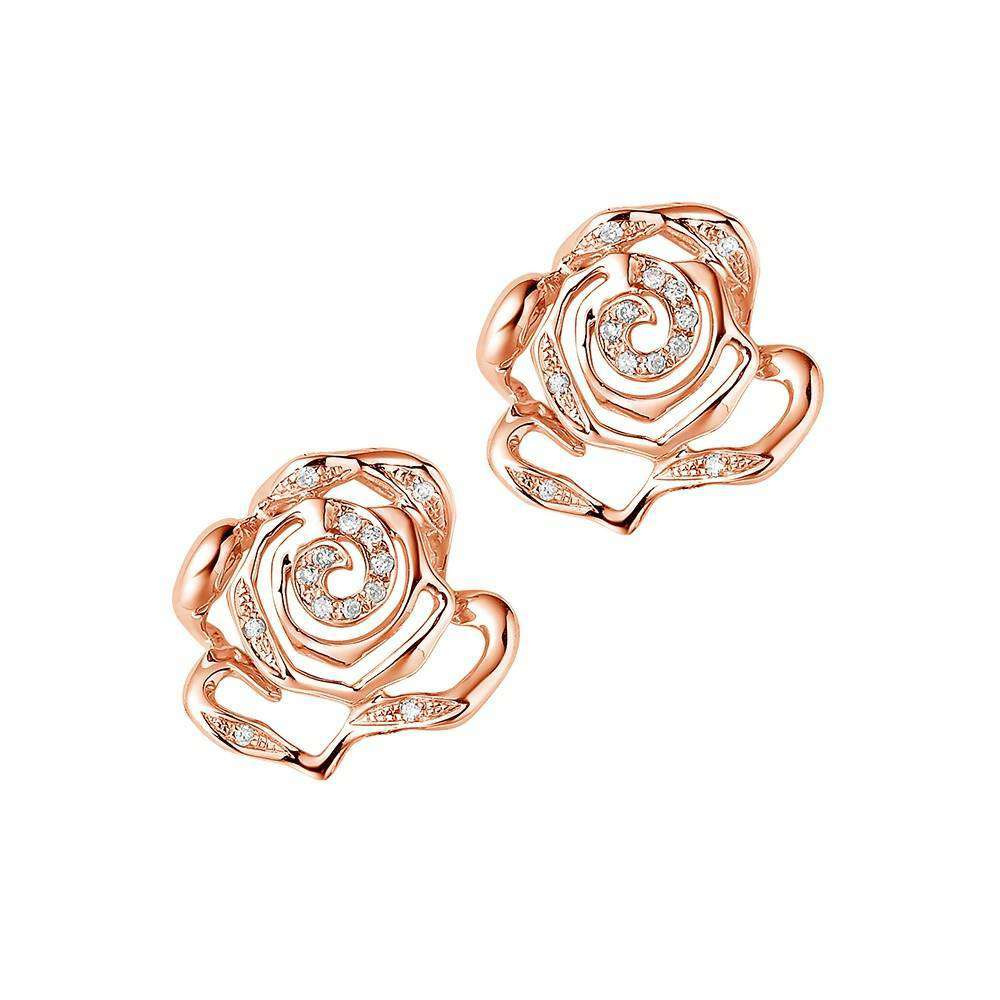 Rose Stud Earrings in 925 Sterling Silver in Rose Gold colour