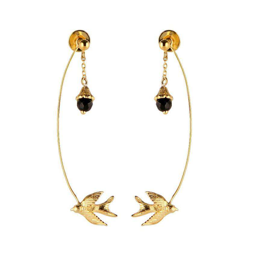Flower & Swallow Earrings - Roz Buehrlen - THE POMMIER - 2