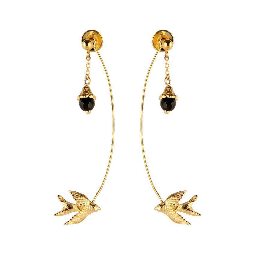 Flower & Swallow Earrings - Roz Buehrlen - THE POMMIER - 4