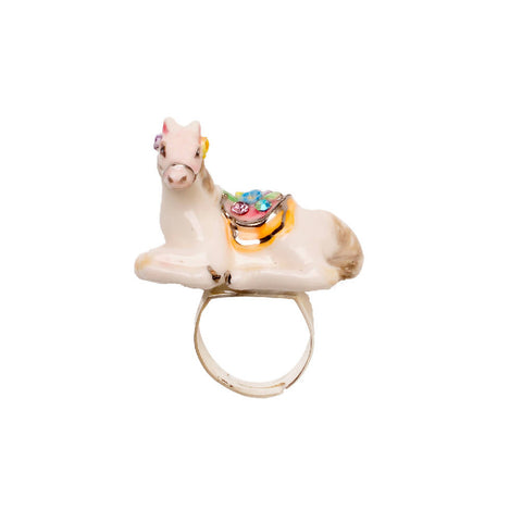 Merry Go Round Porcelain French Bulldog Pendant And Gold Plated Necklace