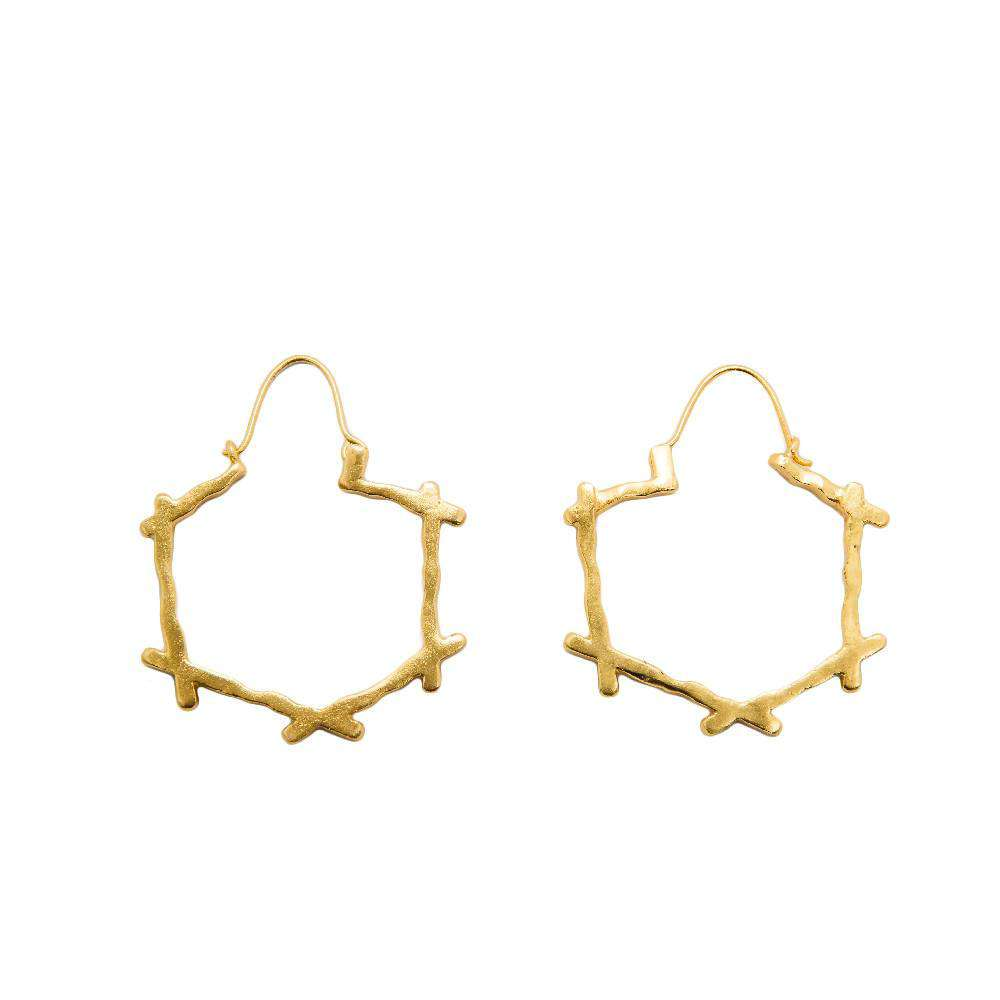 Deco Cross Hoops