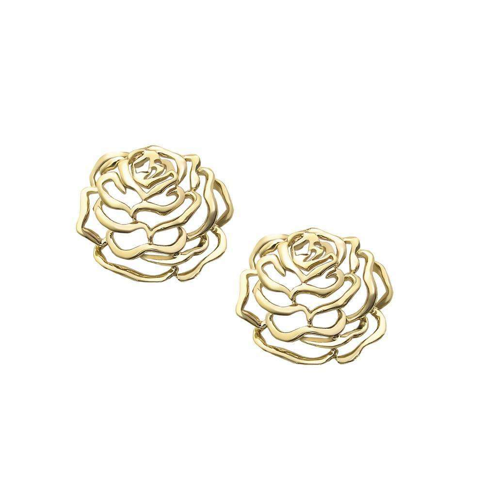 Rose Medium Stud Earrings in 925 Sterling Silver in Yellow Gold colour