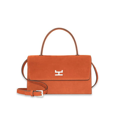 Canie Medium Cael nubuck and calfskin leather top handle bag