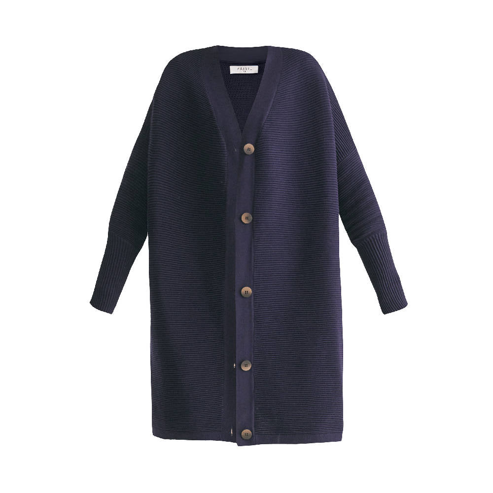 Oversized Ribbed V-neck Cardigan in Navy