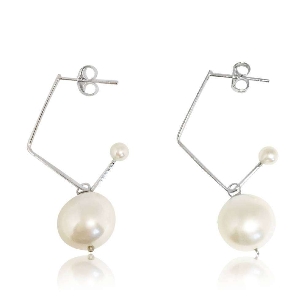 White Pearl Music Note Drop Earrings, Sterling Silver