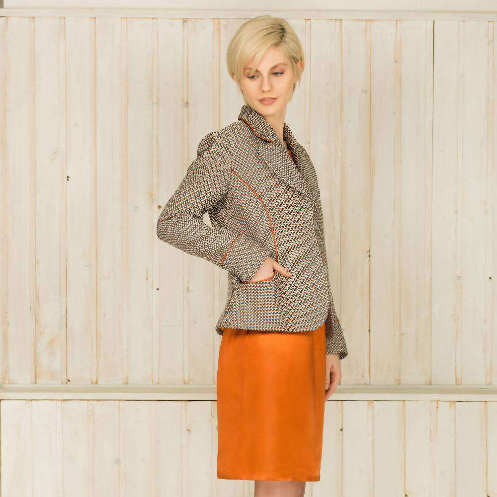 Satin Trimmed Tailored Tweed Jacket