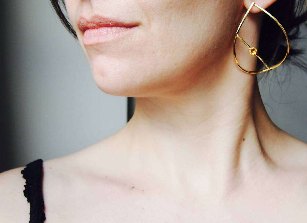 Gold Plated Silver Teardrop Earrings With Yellow Citrine