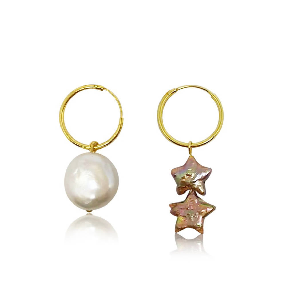 Sun and Stars Mismatched Pearl Hoop Earrings (Limited Edition)
