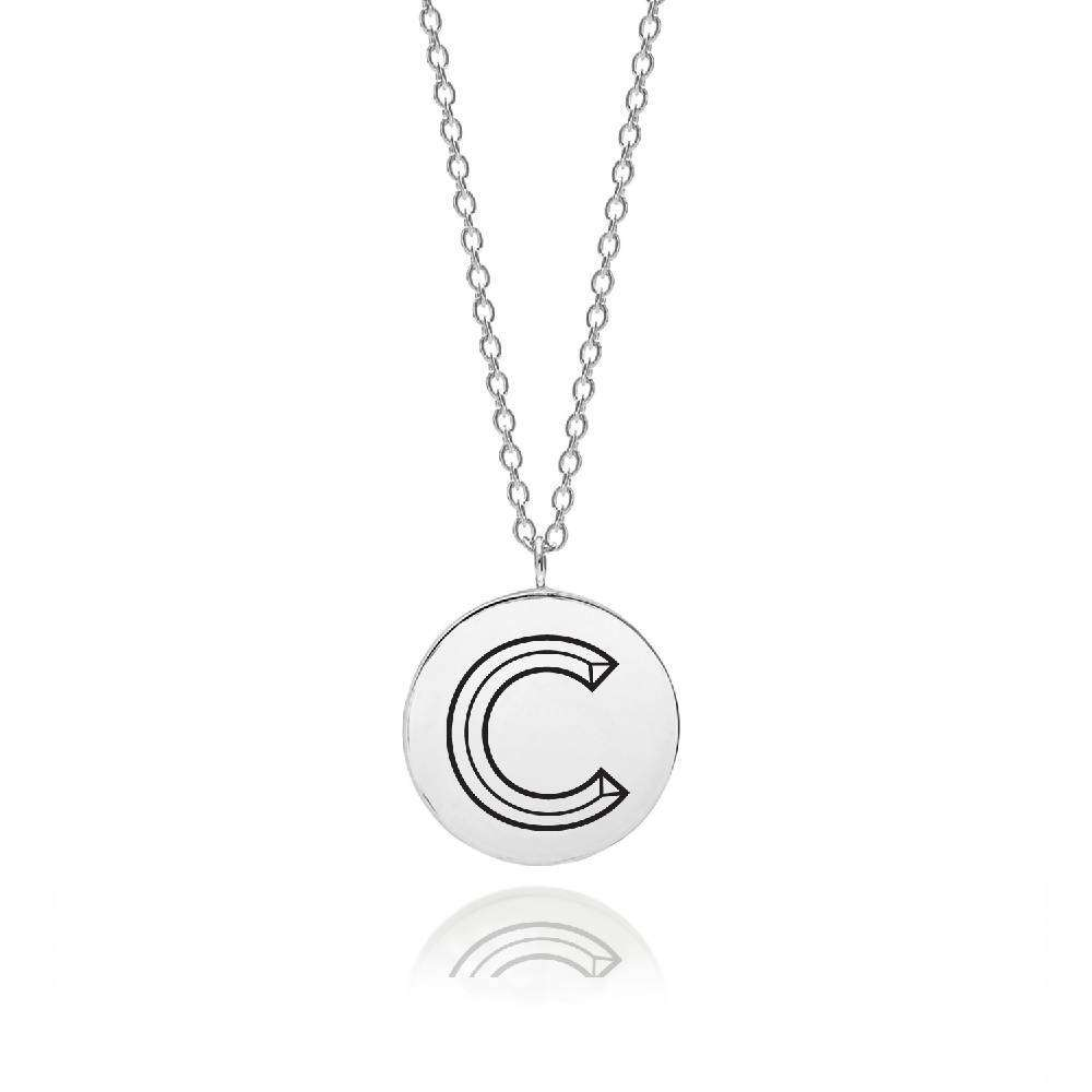 Sterling Silver Facett Initial C Pendant