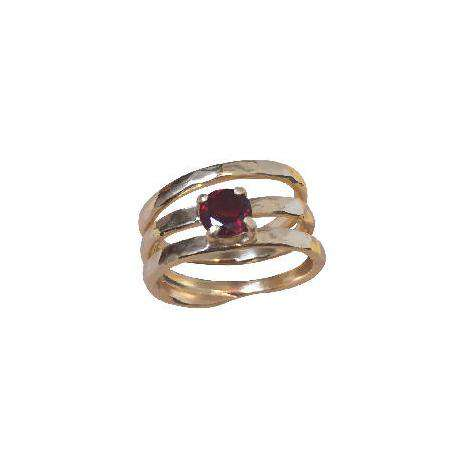 Gold plated wire ring with garnet