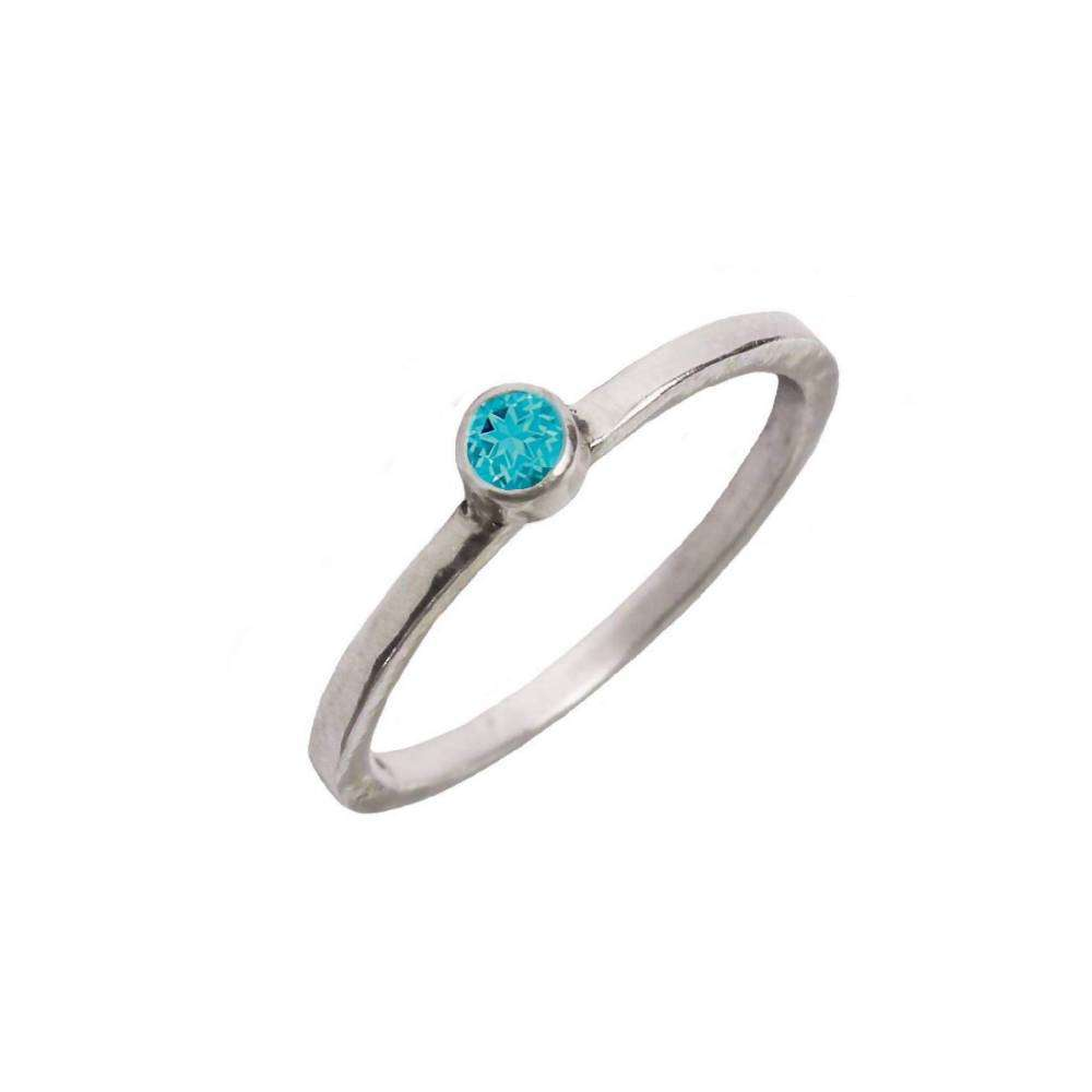 Recycled Sterling Silver Ring With Blue Topaz
