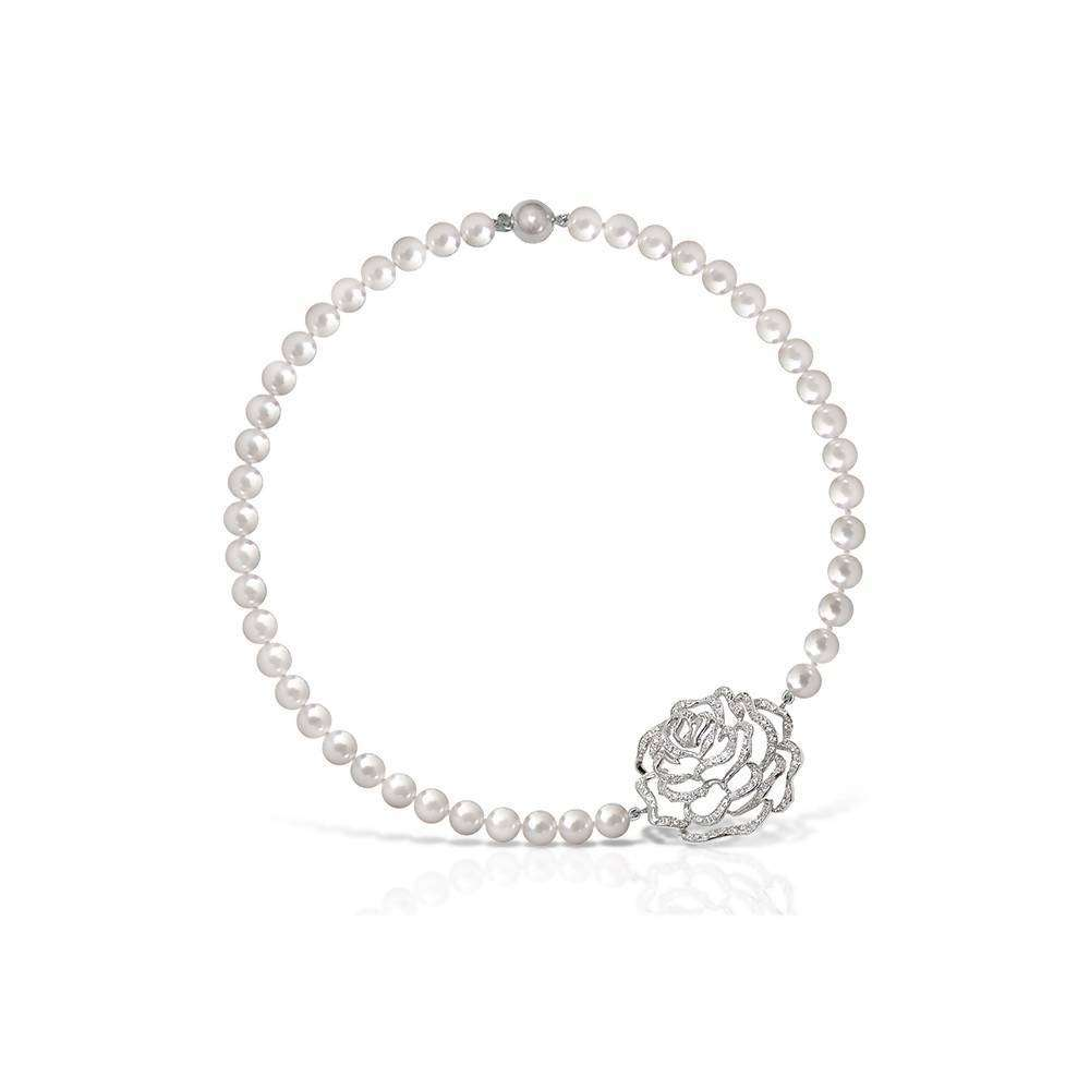 Rose Short Pearl Necklace in 925 Sterling Silver in White Rhodium colour