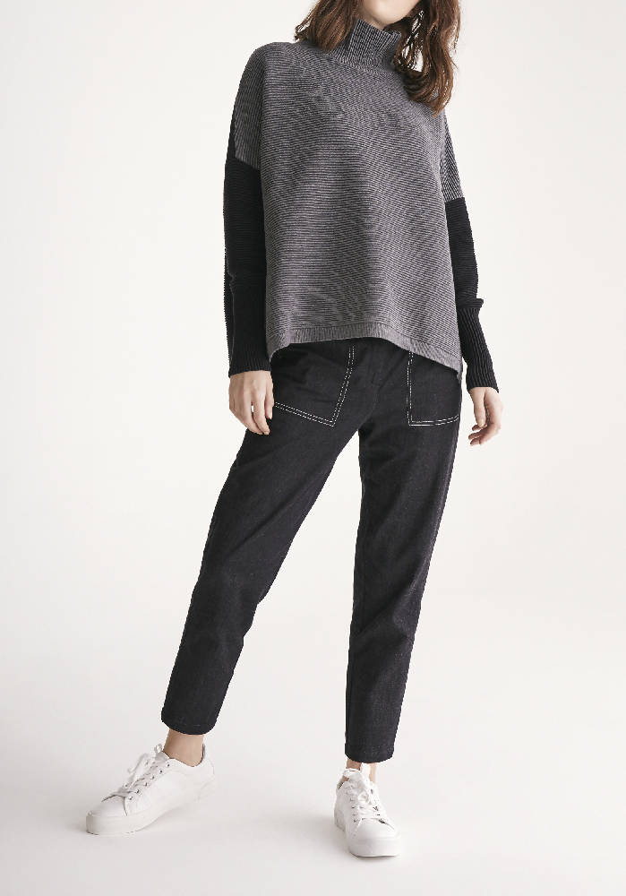 Two Tone Ribbed Polo Neck Jumper with Side Splits in Charcoal and Black