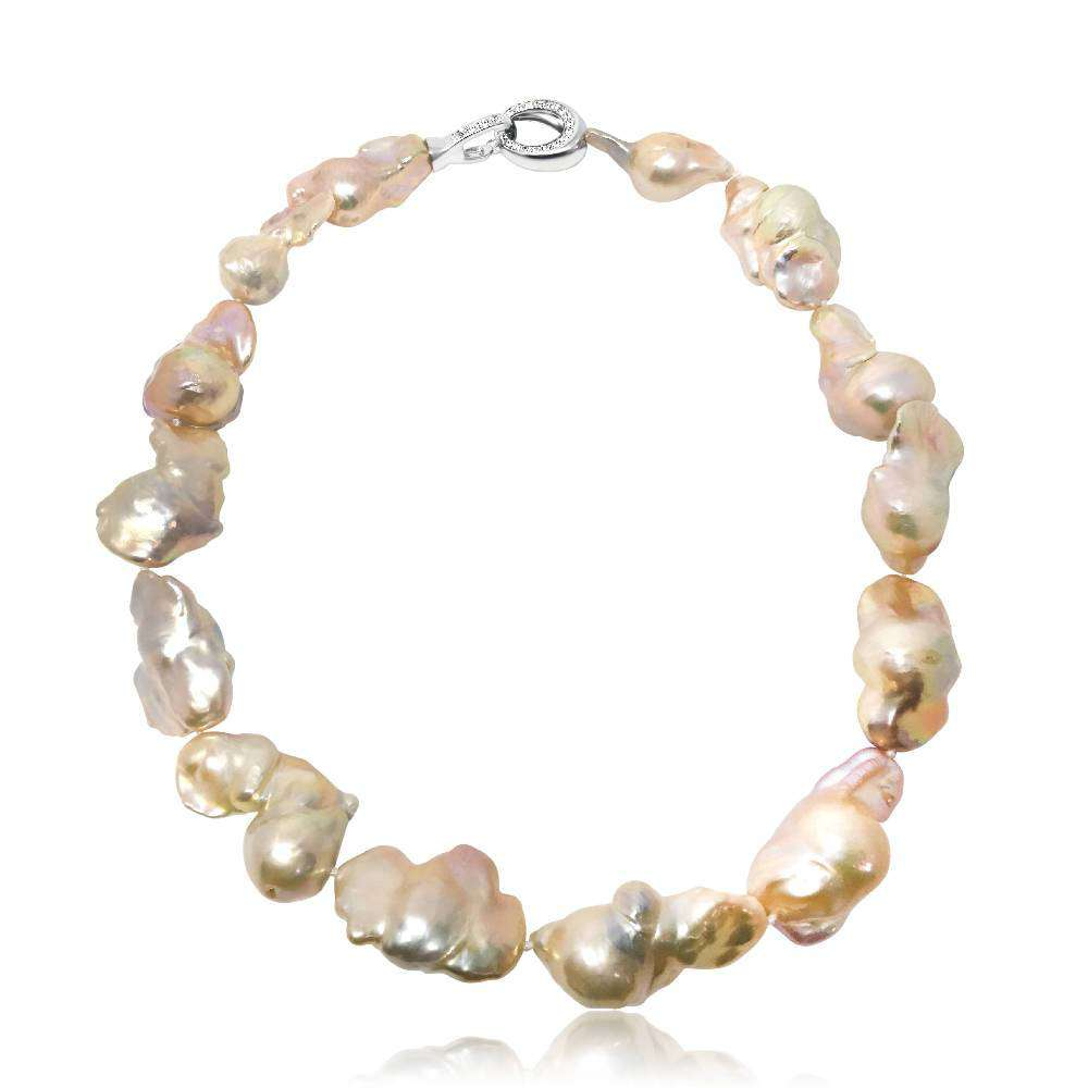 Pink Fireball Baroque Pearl Necklace