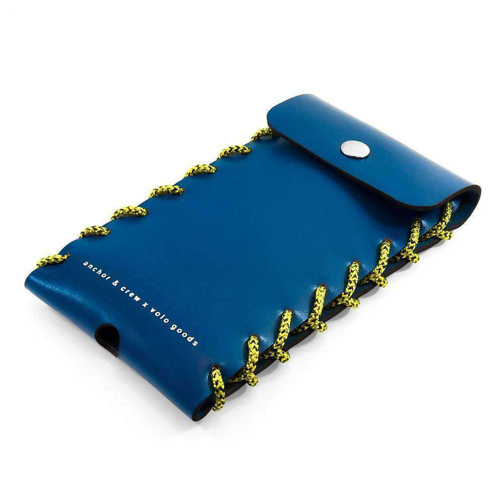 LARGE TRAFFIC BLUE STANDEN LEATHER AND ROPE PHONE CASE