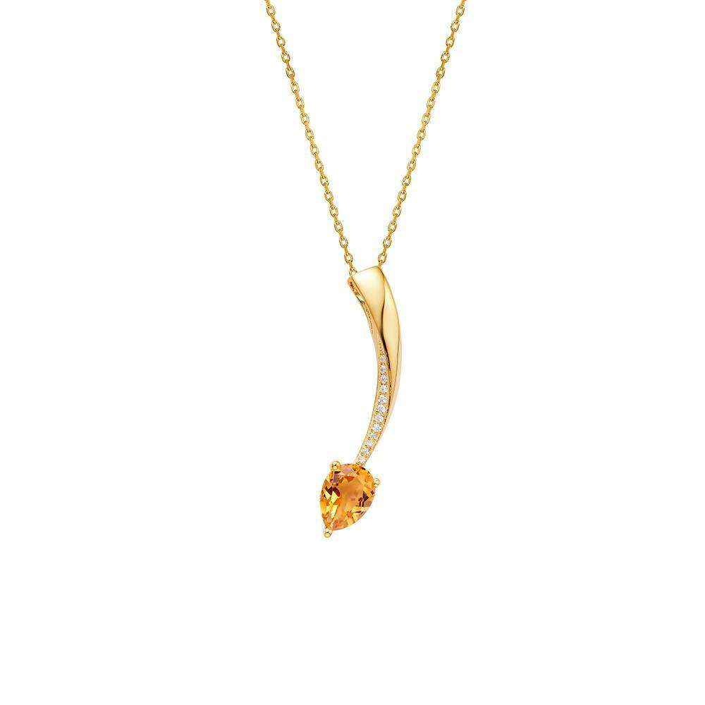 Shooting Star Yellow Citrine Short Pendant in 925 Sterling Yellow Gold Colour