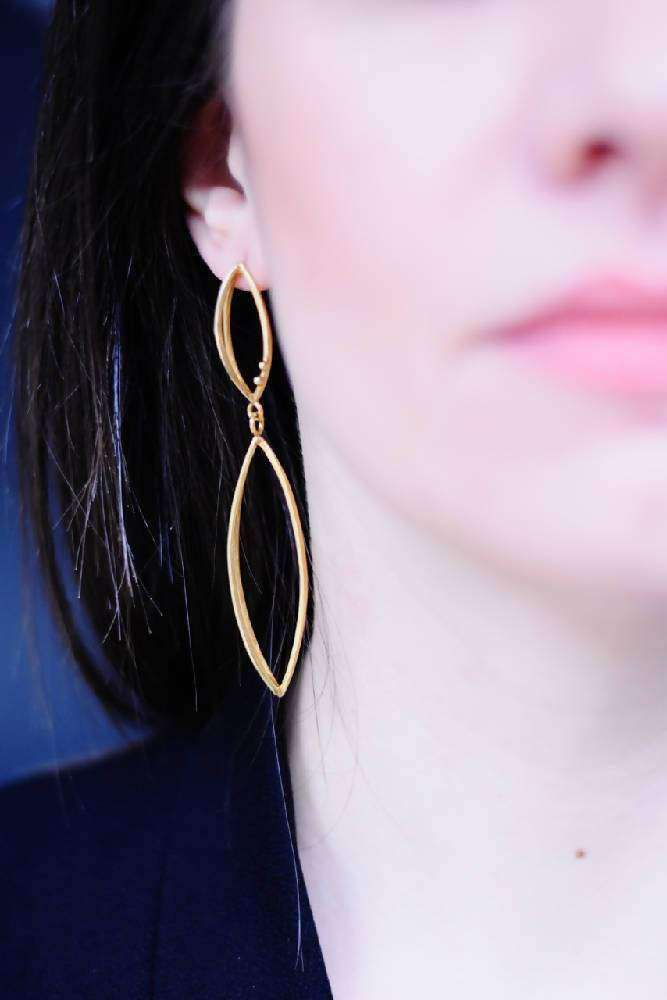 Gold Plated Silver 3D Earrings