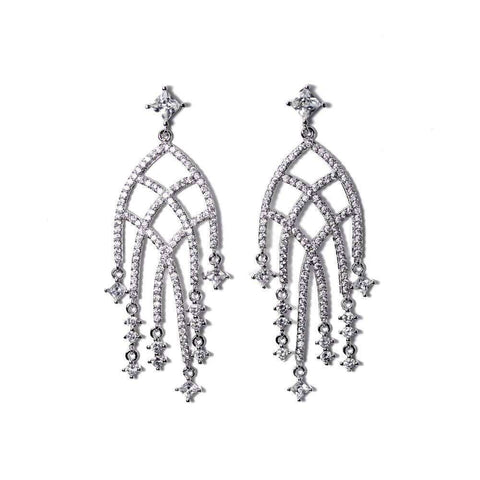 Star Chain 925 Sterling Silver Drop Earrings