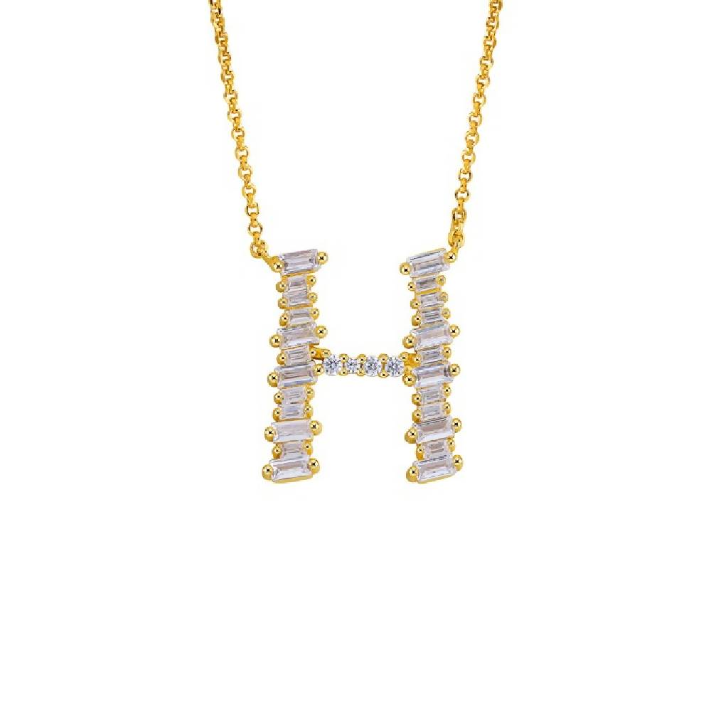 Gold Plated 925 Sterling Silver Initials Necklace Collection - Letter H