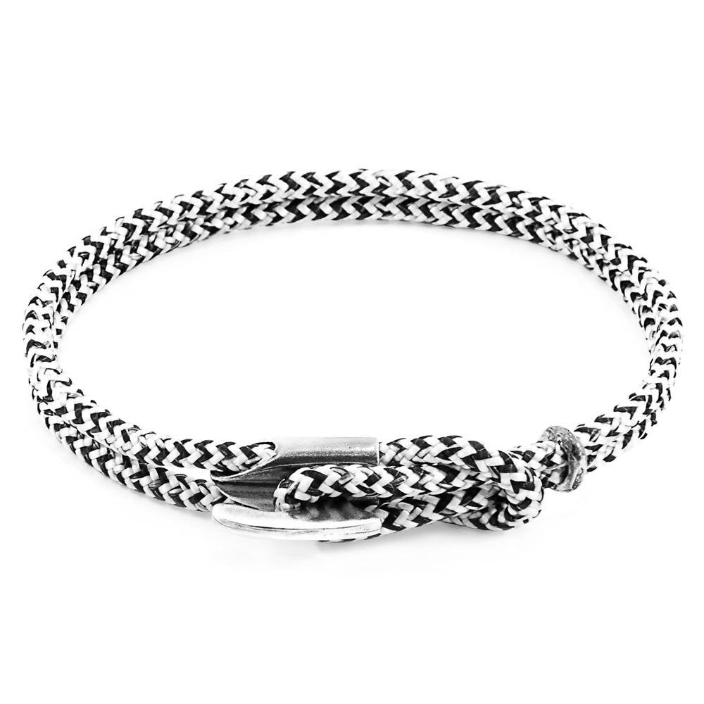 WHITE NOIR PADSTOW SILVER AND ROPE BRACELET