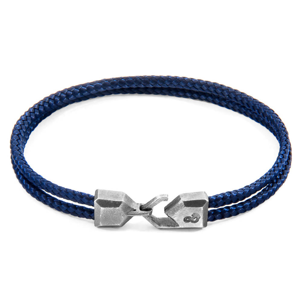 NAVY BLUE CROMER SILVER AND ROPE BRACELET