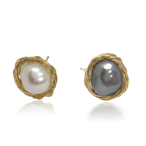 White Pearl Hoop Drop Earrings, Rose Gold