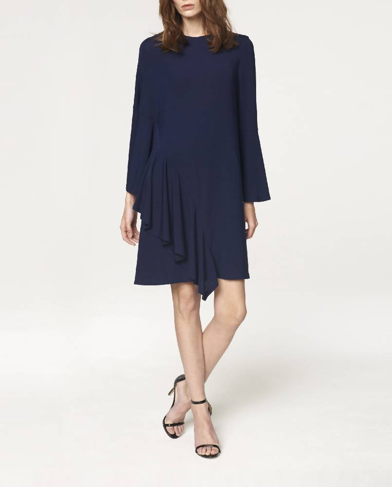 Round Neck Dress with Asymmetric Side Frill Overlay in Navy