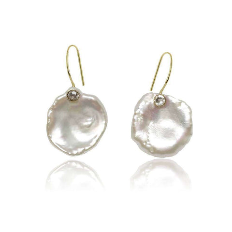 Long Drop Pearl Earrings with Cubic Zirconia Studs