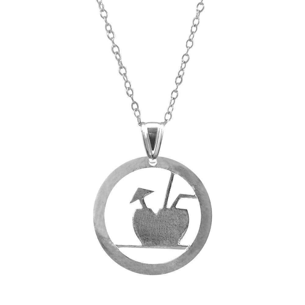FRESH COCONUT DISC PARADISE SILVER NECKLACE PENDANT