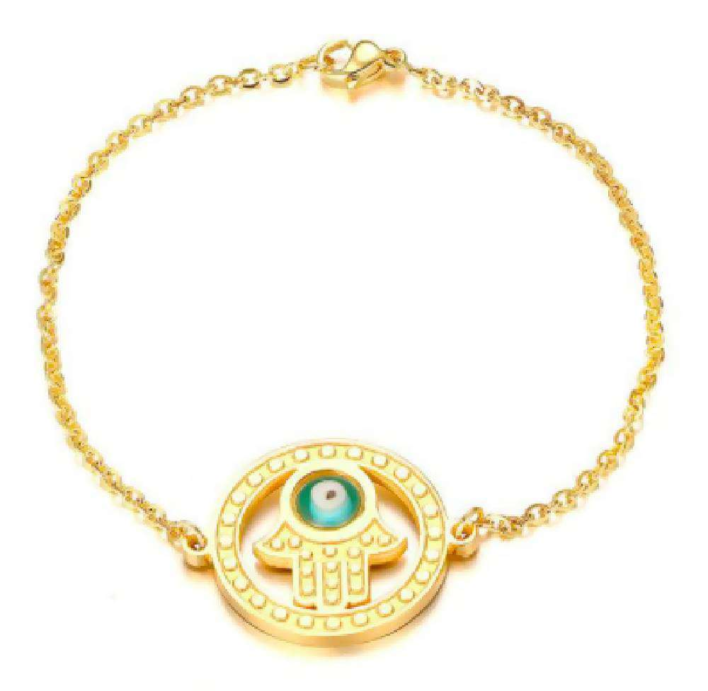 Copy of Gold Polished Evil Eye Hamsa Bracelet