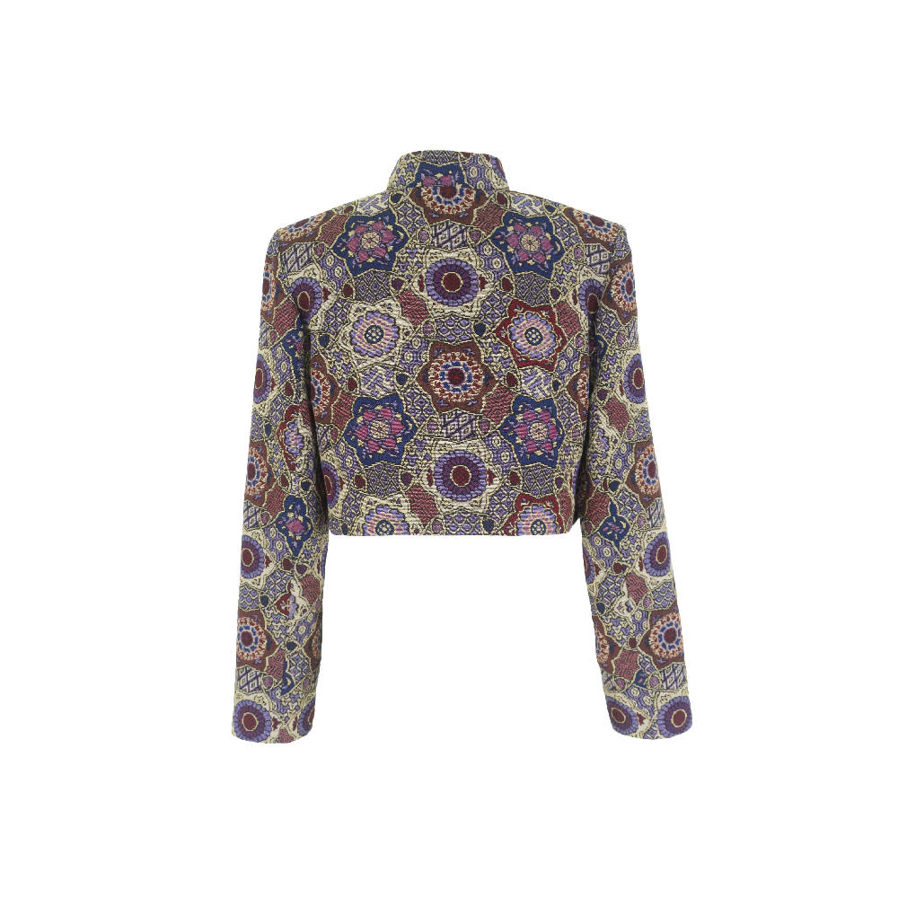 Multicolor Cropped Jacket With Pockets Blue